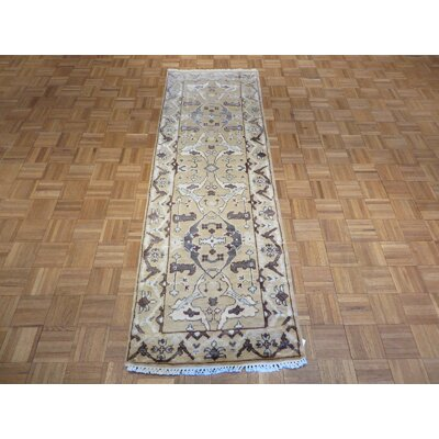 One-of-a-Kind Sherika Oushak Hand-Knotted Gold Area Rug