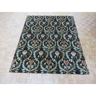 One-of-a-Kind Elbridge Transitional Oushak Hand-Knotted Black Area Rug