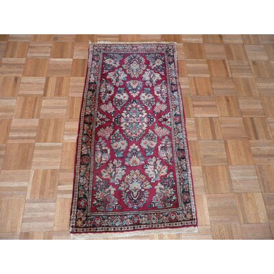 One-of-a-Kind Pellegrino Antique Sarouk Hand-Knotted Red Area Rug