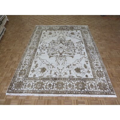 One-of-a-Kind Josephson Hand-Knotted Ivory Area Rug