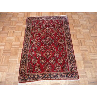 One-of-a-Kind Pellegrino Antique Sarouk Hand-Knotted Red/Brown Area Rug