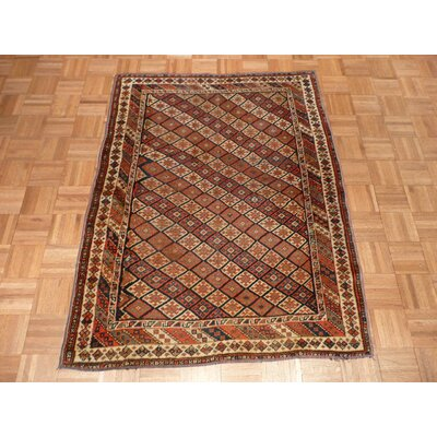 One-of-a-Kind Padro Antique Kazak Hand-Knotted Red/Gray Area Rug