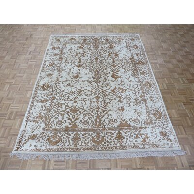 One-of-a-Kind Paden Hand-Knotted Beige Area Rug