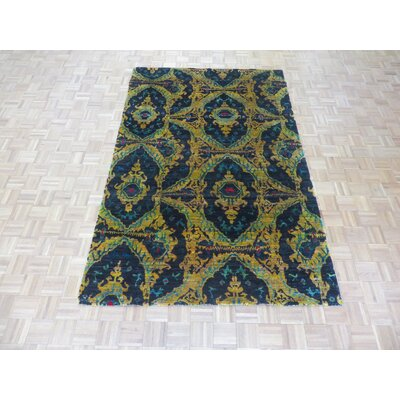 One-of-a-Kind Paez Ikat Hand-Knotted Black Area Rug