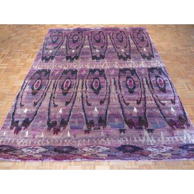 One-of-a-Kind Paez Ikat Hand-Knotted Purple Area Rug