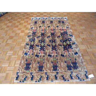 One-of-a-Kind Paez Ikat Hand-Knotted Blue/Beige Area Rug