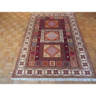 One-of-a-Kind Padula Tribal Hand-Knotted Burgundy Area Rug