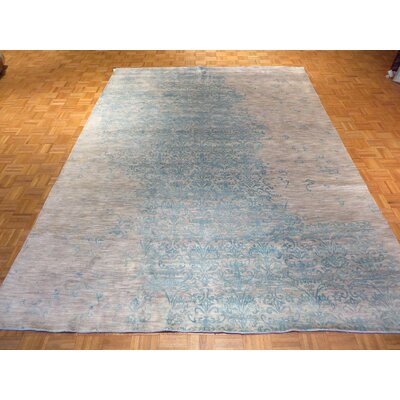 One-of-a-Kind Pellegrino Modern Hand-Knotted Wool Gray/Sky Blue Area Rug