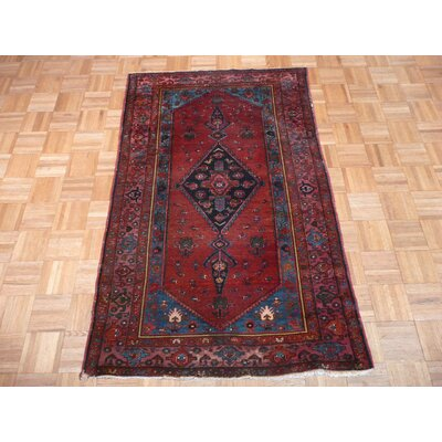 One-of-a-Kind Padro Hamadan Hand-Knotted Red Area Rug