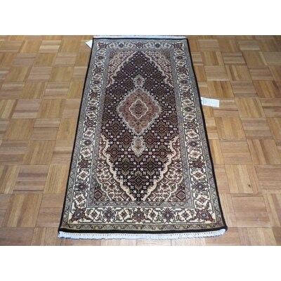 One-of-a-Kind Raiden Hand-Knotted Wool Black/Ivory Area Rug