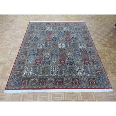 One-of-a-Kind Rainville Hand-Knotted Wool Red/Gray Area Rug