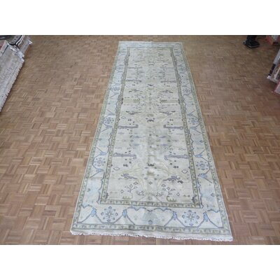 One-of-a-Kind Pellegrino Oushak Hand-Knotted Wool Beige Area Rug