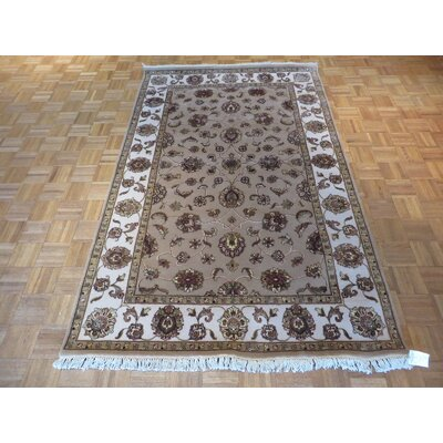 One-of-a-Kind Rhyne Hand-Knotted Taupe Area Rug