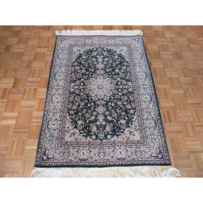 One-of-a-Kind Rhyne Persian Nain Hand-Knotted Green Area Rug