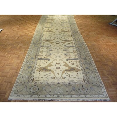 One-of-a-Kind Pellegrino Oushak Hand-Knotted Wool Ivory Area Rug