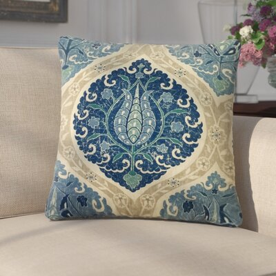 Aero Ikat Down Filled Linen Throw Pillow Size: 18 x 18, Color: Lake