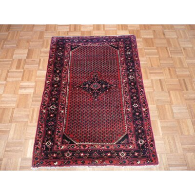 One-of-a-Kind Pellegrino Hamadan Antique Hand-Knotted Cotton Red Area Rug