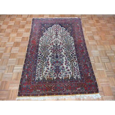 One-of-a-Kind Rhyne Antique Hand-Knotted Cotton Ivory Area Rug