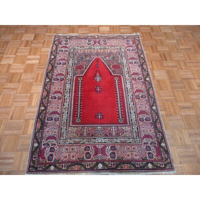 One-of-a-Kind Padro Antique Prayer Hand-Knotted Wool Red Area Rug