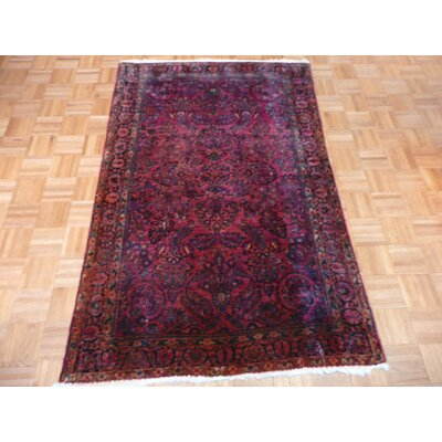 One-of-a-Kind Padro Antique Sarouk Hand-Knotted Red Area Rug