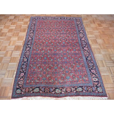 One-of-a-Kind Padro Antique Bijar Hand-Knotted Red Area Rug