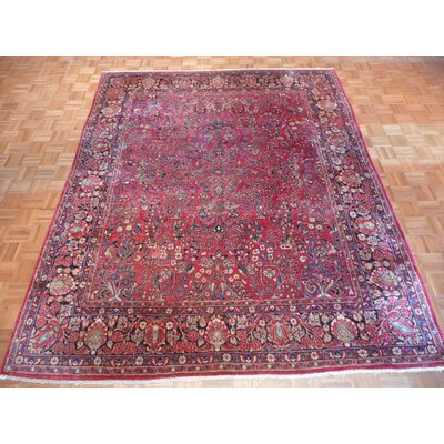 One-of-a-Kind Padro Antique Sarouk Hand-Knotted Wool Red Area Rug