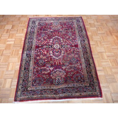 One-of-a-Kind Pellegrino Antique Sarouk Hand-Knotted Wool Red Area Rug