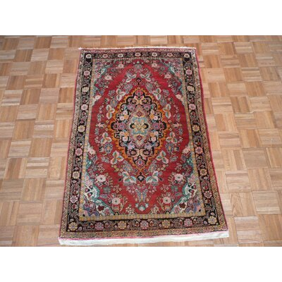 One-of-a-Kind Pellegrino Antique Sarouk Hand-Knotted Rayon from Bamboo Silk Red Area Rug