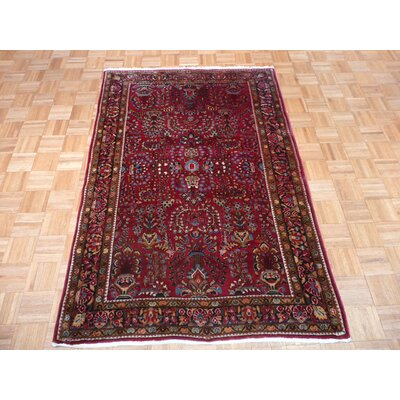 One-of-a-Kind Pellegrino Antique Sarouk Hand-Knotted Cotton Red Area Rug