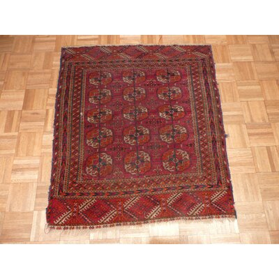 One-of-a-Kind Pellegrino Antique Bokara Hand-Knotted Wool Red Area Rug