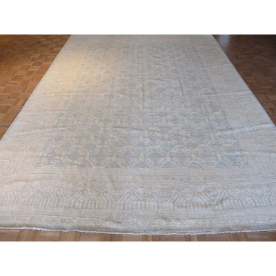 One-of-a-Kind Pafford Peshawar Hand-Knotted Wool Beige/Silver Blue Area Rug