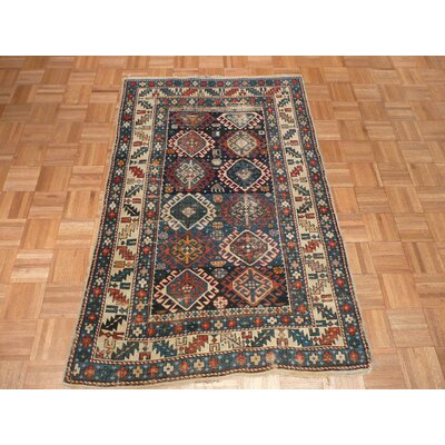 One-of-a-Kind Padula Antique Hand-Knotted Wool Blue Area Rug