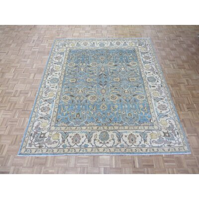 One-of-a-Kind Josephson Peshawar Hand-Knotted Wool Sky Blue Area Rug
