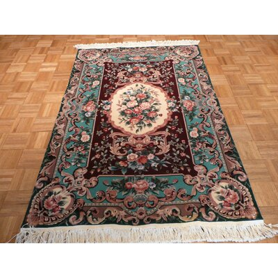 One-of-a-Kind Rhyne Aubusson Hand-Knotted Wool Burgundy Area Rug