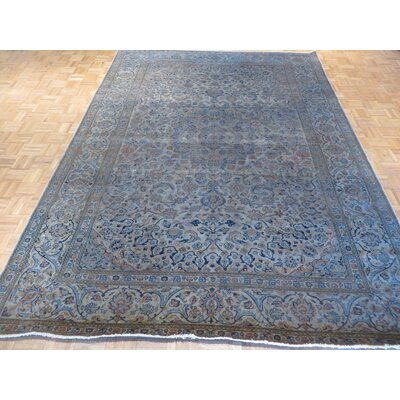 One-of-a-Kind Padro Hand-Knotted Wool Silver Blue Area Rug