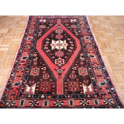 One-of-a-Kind Padro Antique Hamadan Hand-Knotted Wool Brown Area Rug