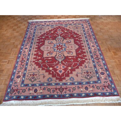One-of-a-Kind Pellegrino Serapi Heriz Hand-Knotted Wool Red Area Rug