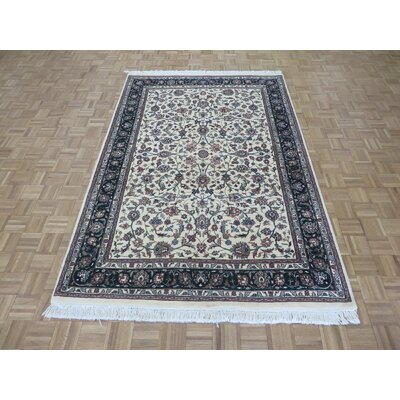 One-of-a-Kind Rhyne Hand-Knotted Rayon from Bamboo Silk Ivory Area Rug