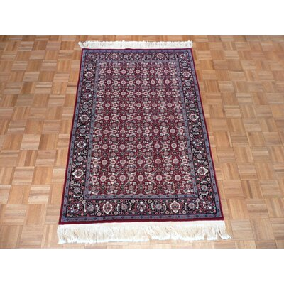One-of-a-Kind Pellegrino Bijar Hand-Knotted Silk Red Area Rug