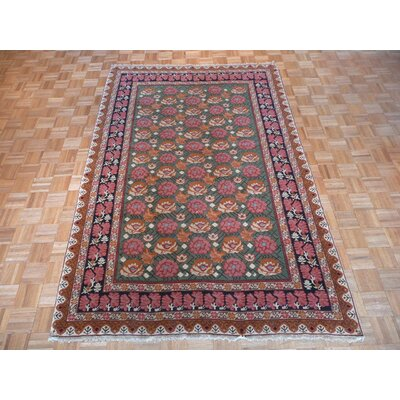 One-of-a-Kind Rainey Hand-Knotted Rayon from Bamboo Silk Light Green Area Rug