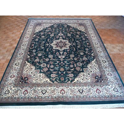 One-of-a-Kind Raines Hand-Knotted Wool Green Area Rug