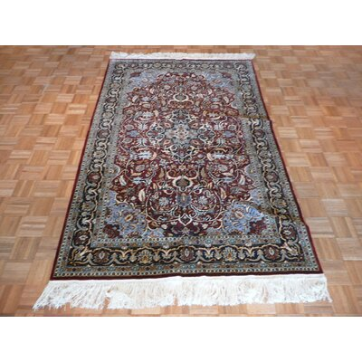 One-of-a-Kind Rhyne Hand-Knotted Rayon from Bamboo Silk Brown Area Rug