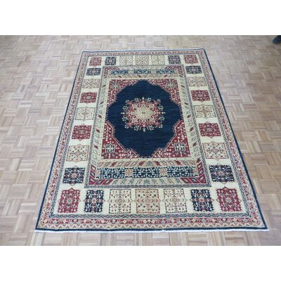 One-of-a-Kind Rhyne Peshawar Hand-Knotted Wool Navy Blue Area Rug
