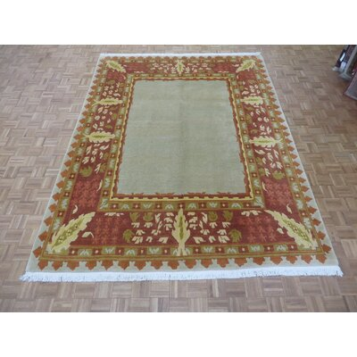 One-of-a-Kind Padang Sidempuan Hand-Knotted Silk Beige Area Rug