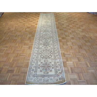 One-of-a-Kind Pafford Peshawar Hand-Knotted Wool Ivory Area Rug