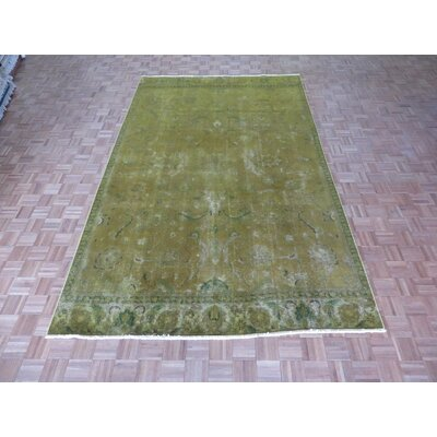 One-of-a-Kind Pellegrino Worn Hand-Knotted Wool Soft Gold/Yellow Area Rug