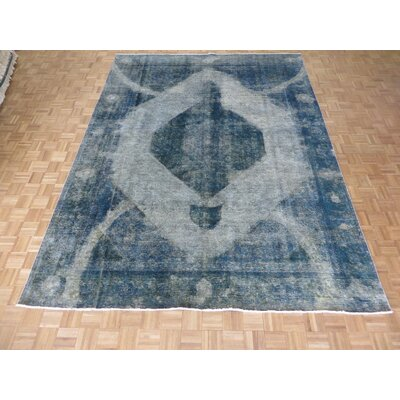 One-of-a-Kind Padro Hand-Knotted Wool Silver/Sky Blue Area Rug