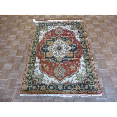One-of-a-Kind Elbridge Antiqued Serapi Heriz Hand-Knotted Wool Rust Red Area Rug