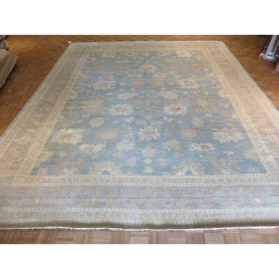 One-of-a-Kind Josephson Turkish Oushak Hand-Knotted Sky Blue Area Rug Rug Size: Rectangle 12 x 15
