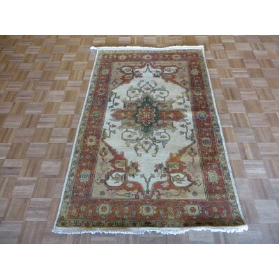 One-of-a-Kind Pellegrino Antiqued Serapi Heriz Hand-Knotted Silk Ivory Area Rug Rug Size: Rectangle 2 x 3